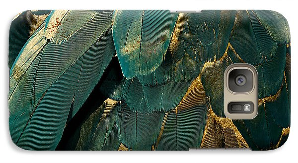 Feather Glitter Teal And Gold Galaxy S7 Case by Mindy Sommers