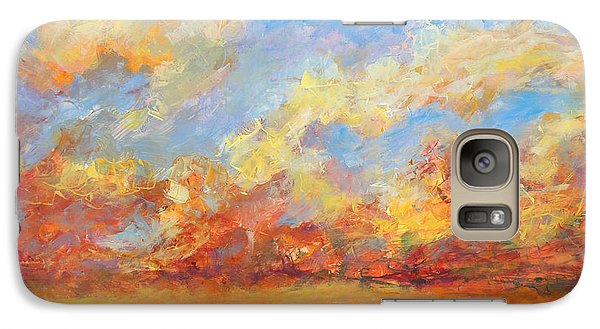 Galaxy Case featuring the painting Feathered Sky by Mary Schiros