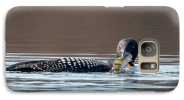 Feeding Common Loon Square Galaxy S7 Case by Bill Wakeley