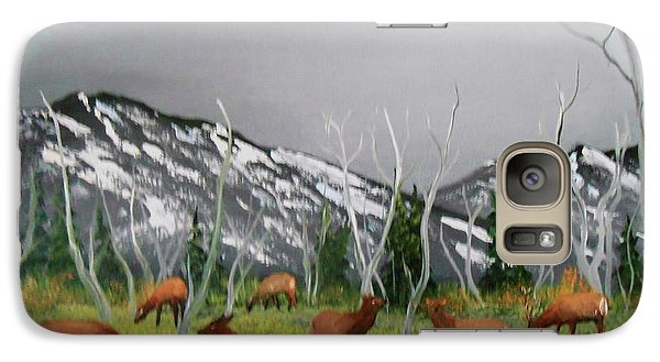 Galaxy Case featuring the painting Feeding Elk by Al Johannessen