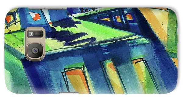 Galaxy Case featuring the painting Feedmill In Blue And Green by Kathy Braud