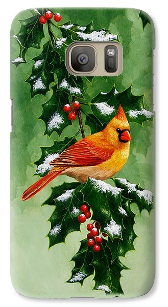 Female Cardinal And Holly Phone Case Galaxy Case by Crista Forest