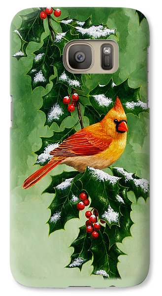 Female Cardinal And Holly Phone Case Galaxy S7 Case by Crista Forest