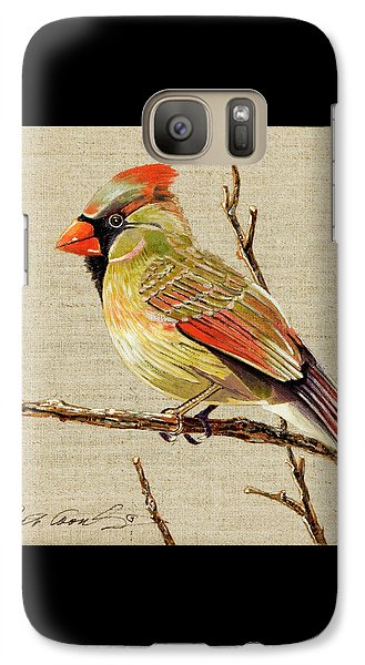 Galaxy Case featuring the painting Female Cardinal by Bob Coonts