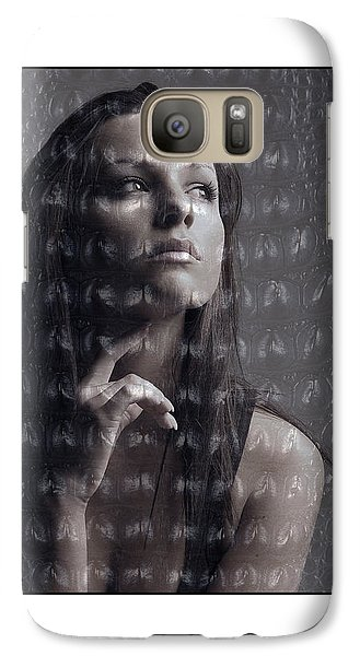 Galaxy Case featuring the photograph Female Portrait With Reptile Texture by Michael Edwards