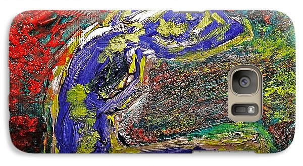 Galaxy Case featuring the painting Female Washing Hair With Bold Primary Colors Textures And Expressionism  by MendyZ M Zimmerman