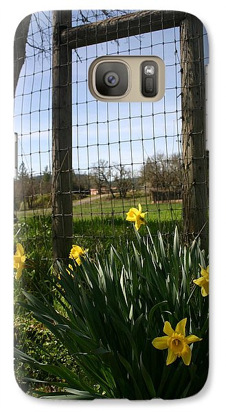 Galaxy Case featuring the photograph Fence With A View by Marie Neder