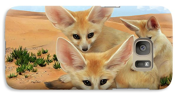 Galaxy Case featuring the digital art Fennec Foxes by Thanh Thuy Nguyen