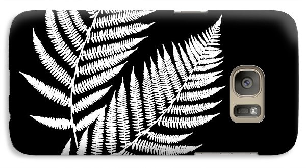 Galaxy Case featuring the mixed media Fern Pattern Black And White by Christina Rollo