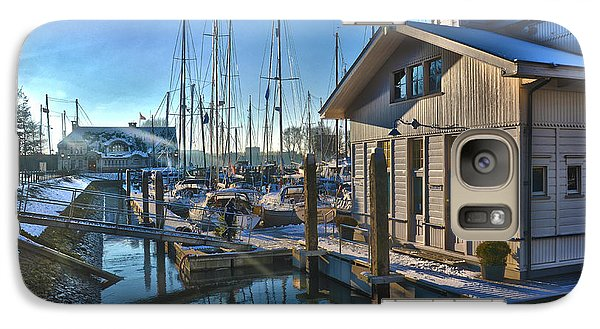 Galaxy Case featuring the photograph Ferry Harbour In Winter by Frans Blok