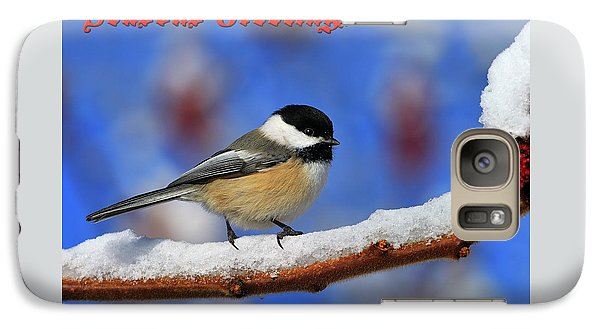 Galaxy Case featuring the photograph Festive Chickadee by Tony Beck