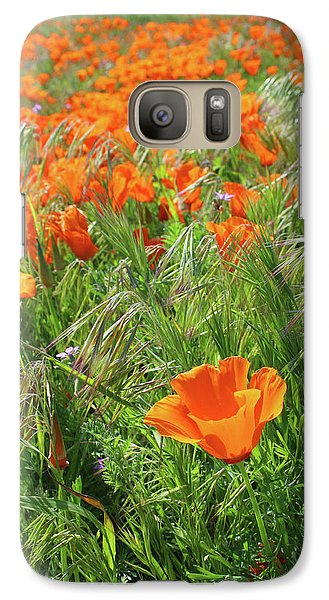 Galaxy Case featuring the mixed media Field Of Orange Poppies- Art By Linda Woods by Linda Woods