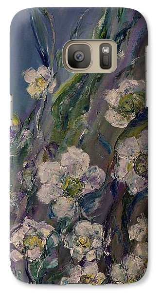Galaxy Case featuring the painting Fields Of White Flowers by AmaS Art