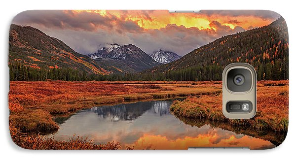 Galaxy Case featuring the photograph Fiery Bear River Sunset by Johnny Adolphson