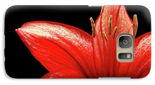 Galaxy Case featuring the photograph Fiery Red by Judy Vincent