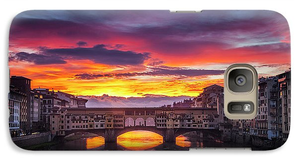 Galaxy Case featuring the photograph Fiery Sunrise Over Ponte Vecchio by Andrew Soundarajan
