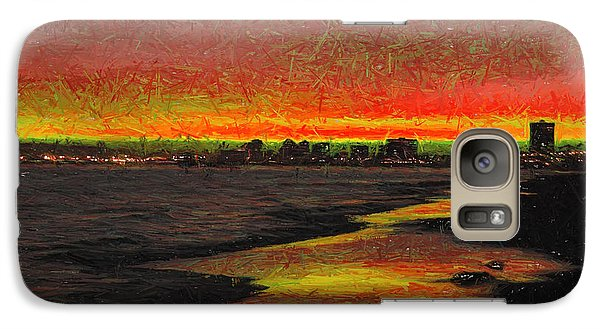 Galaxy Case featuring the digital art Fiery Sunset by Mariola Bitner