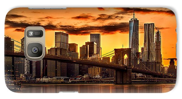 Fiery Sunset Over Manhattan  Galaxy S7 Case