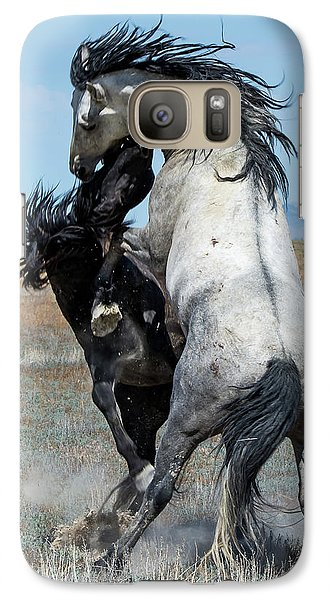 Galaxy Case featuring the photograph Fighting Black And Gray Stallions by Mary Hone