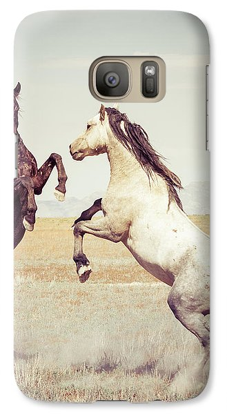 Galaxy Case featuring the photograph Fighting Stallions by Mary Hone