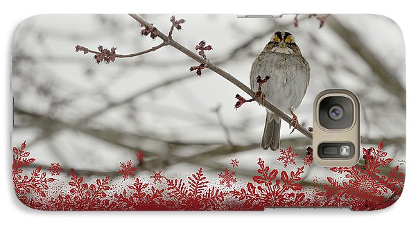 Galaxy Case featuring the mixed media Finch Christmas by Trish Tritz
