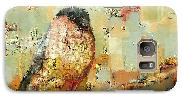 Galaxy Case featuring the mixed media Finch Tapestry by Carrie Joy Byrnes