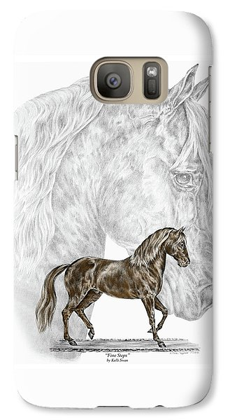 Galaxy Case featuring the drawing Fine Steps - Paso Fino Horse Print Color Tinted by Kelli Swan