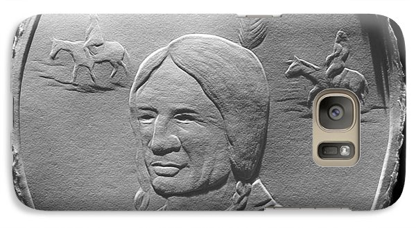 Galaxy Case featuring the relief Fingernail Relief Drawing Of American Indian  by Suhas Tavkar