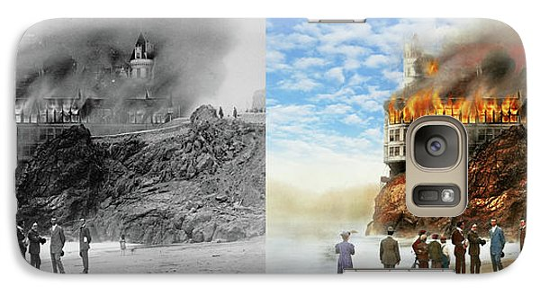 Galaxy Case featuring the photograph Fire - Cliffside Fire 1907 - Side By Side by Mike Savad