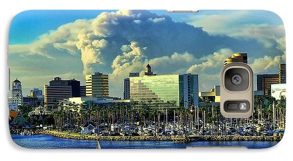 Galaxy Case featuring the photograph Fire Cloud Over Long Beach by Mariola Bitner