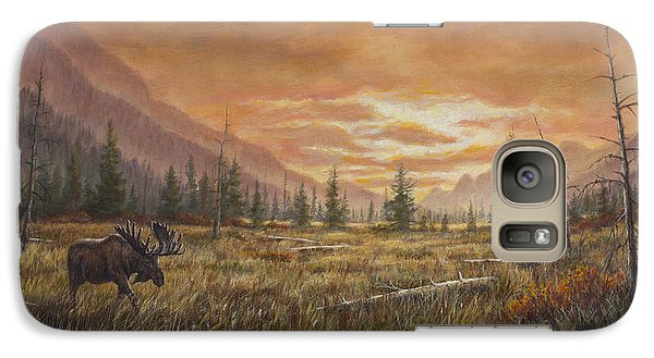 Galaxy Case featuring the painting Fire In The Sky by Kim Lockman