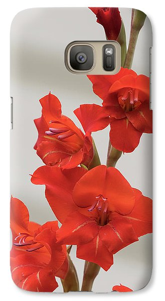Galaxy Case featuring the photograph Fire Red Gladiolas by Angie Vogel