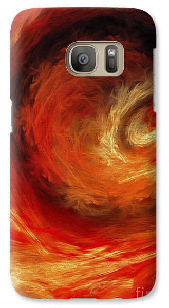 Galaxy Case featuring the digital art Fire Storm Abstract by Andee Design