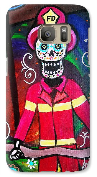 Galaxy Case featuring the painting Fireman Dia De Los Muertos by Pristine Cartera Turkus