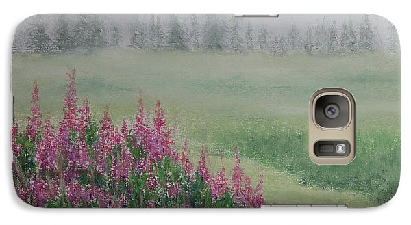 Galaxy Case featuring the painting Fireweeds Still In The Mist by Stanza Widen