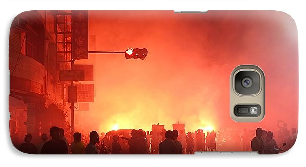 Galaxy Case featuring the photograph Fireworks During A Temple Procession by Yali Shi