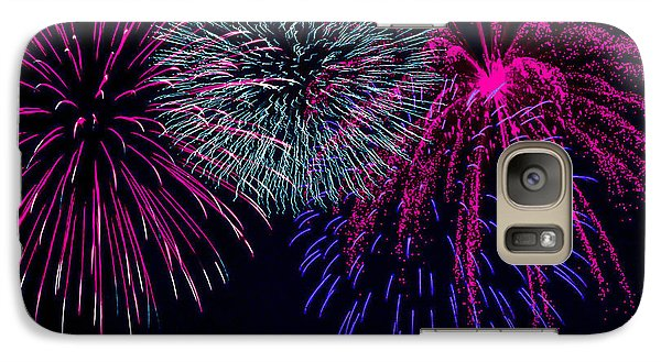 Galaxy Case featuring the photograph Fireworks Over Open Water 1 by Naomi Burgess