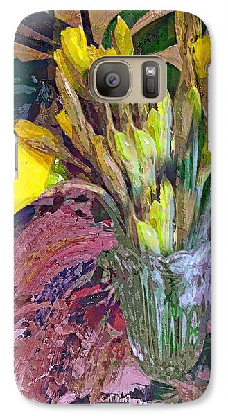 Galaxy Case featuring the digital art First Daffodils by Alexis Rotella