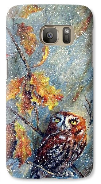 Galaxy Case featuring the painting First Flurries by Mary McCullah