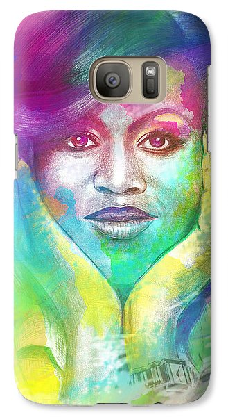 Galaxy Case featuring the mixed media First Lady Obama by AC Williams