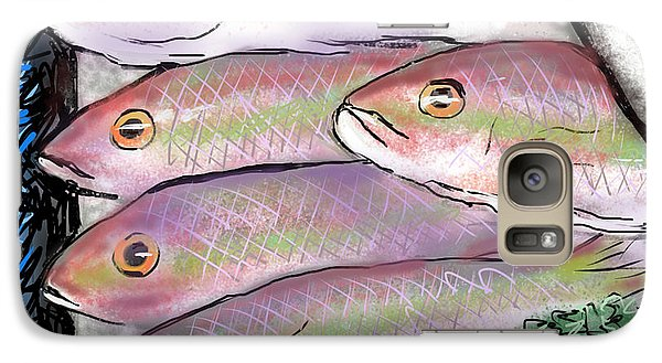 Galaxy Case featuring the digital art Fish Market by Jean Pacheco Ravinski