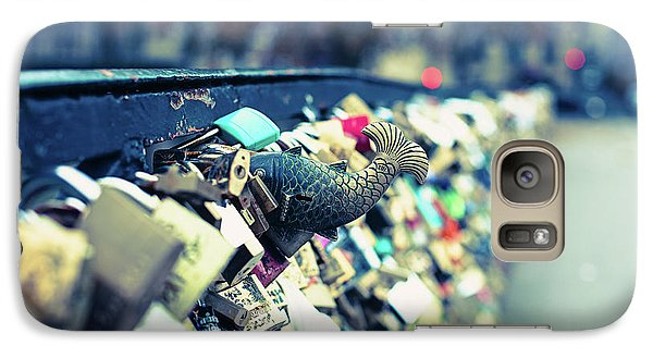 Galaxy Case featuring the photograph Fish Out Of Water - Pont Des Arts Love Locks - Paris Photography by Melanie Alexandra Price
