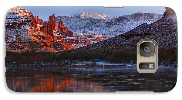 Galaxy Case featuring the photograph Fisher Towers Glowing Reflections by Adam Jewell