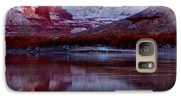 Galaxy Case featuring the photograph Fisher Towers Landscape Glow by Adam Jewell