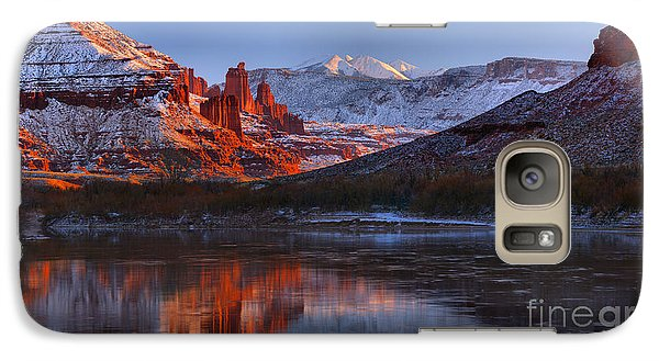 Galaxy Case featuring the photograph Fisher Towers Sunset Glow Panorama by Adam Jewell