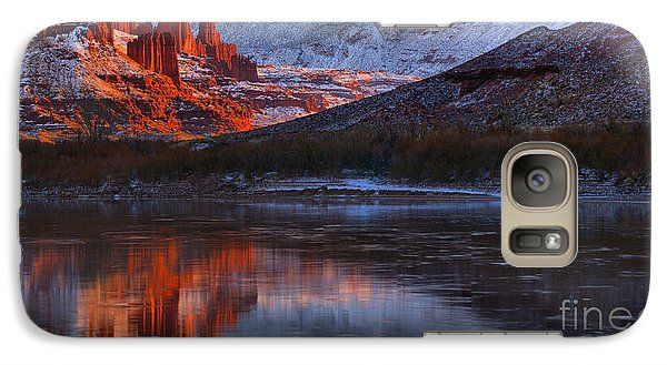 Galaxy Case featuring the photograph Fisher Towers Sunset Reflection Panorama by Adam Jewell