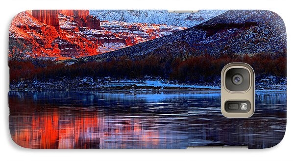 Galaxy Case featuring the photograph Fisher Towers Sunset Winter Landscape by Adam Jewell