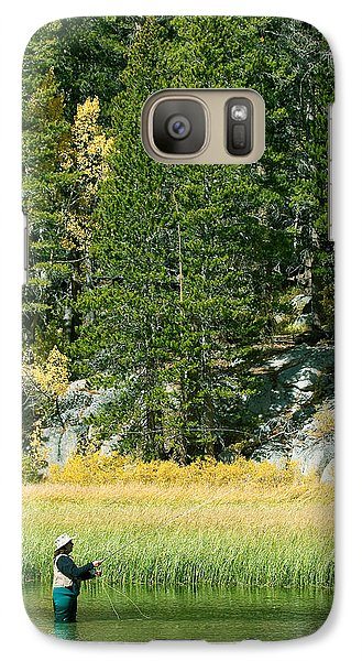 Galaxy Case featuring the photograph Fisherwoman - Eastern Sierra California by Ram Vasudev