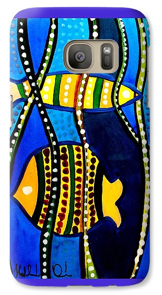 Galaxy Case featuring the painting Fishes With Seaweed - Art By Dora Hathazi Mendes by Dora Hathazi Mendes