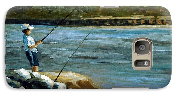 Galaxy Case featuring the painting Fishing At The Point by Suzanne McKee